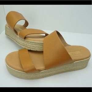Kouroshoes tan leather sandals made in Greece